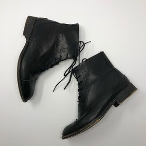 NWOT Zara Leather Brogue Lace Up Ankle Boots 38/7